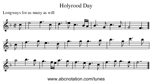 Holyrood Day - staff notation