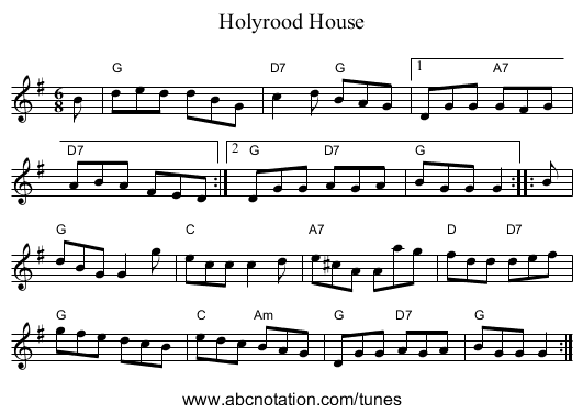 Holyrood House - staff notation