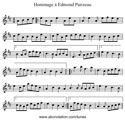 Homage A Edmond Parizeau - staff notation