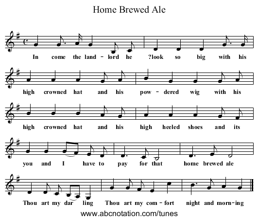 Home Brewed Ale - staff notation