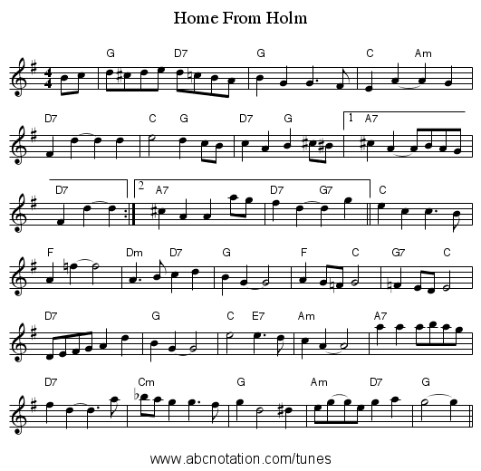 Home From Holm - staff notation