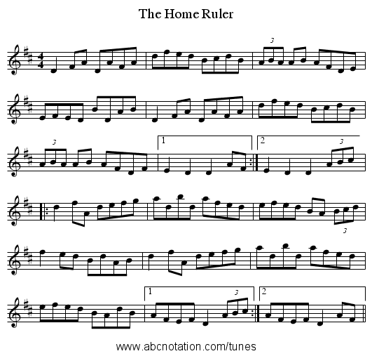 Home Ruler, The - staff notation