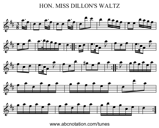 HON. MISS DILLON'S WALTZ - staff notation