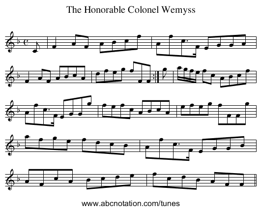 Honorable Colonel Wemyss, The - staff notation
