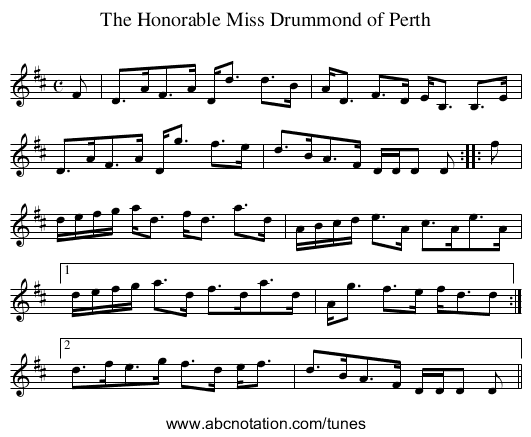 Honorable Miss Drummond of Perth, The - staff notation