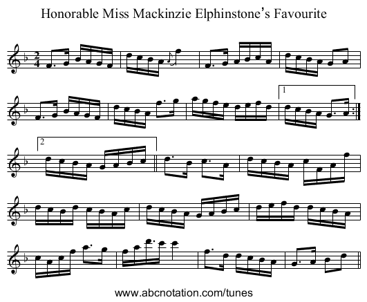 Honorable Miss Mackinzie Elphinstone's Favourite - staff notation