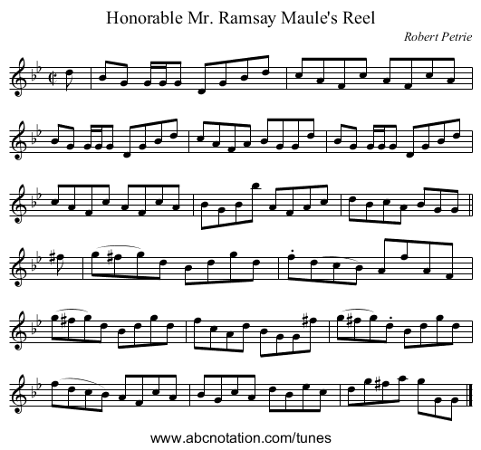 Honorable Mr. Ramsay Maule's Reel - staff notation