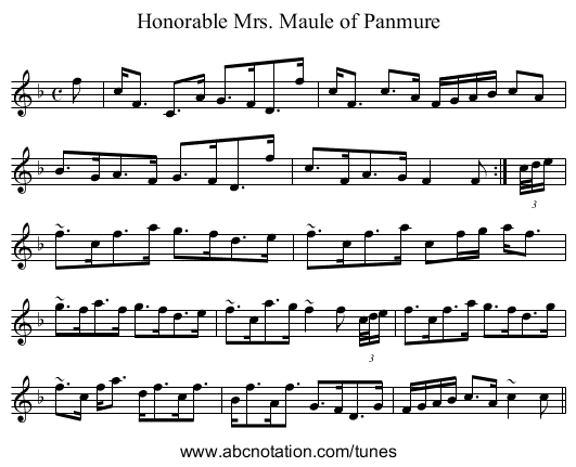 Honorable Mrs. Maule of Panmure - staff notation