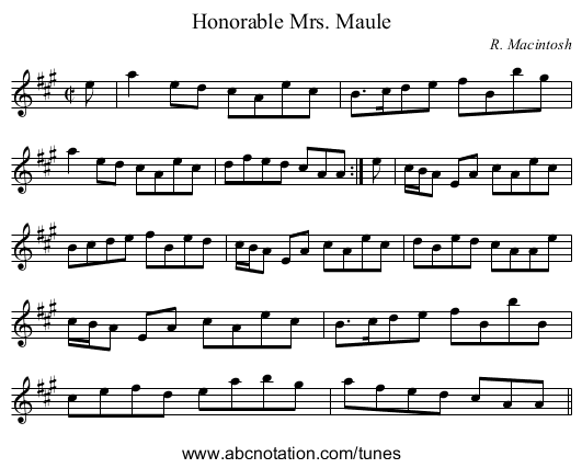 Honorable Mrs. Maule - staff notation