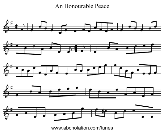 Honourable Peace, An - staff notation
