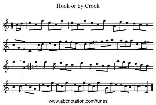 Hook or by Crook - staff notation