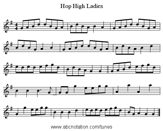 Hop High Ladies - staff notation