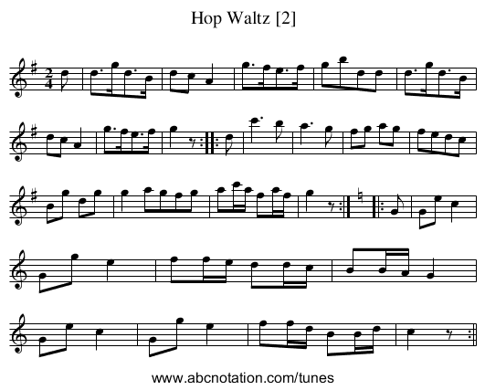 Hop Waltz [2] - staff notation