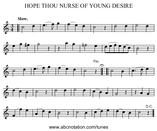 HOPE THOU NURSE OF YOUNG DESIRE - staff notation