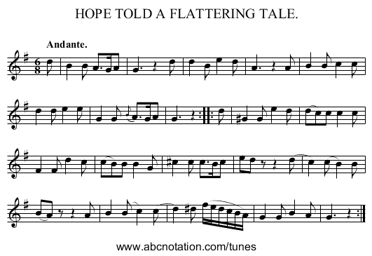 HOPE TOLD A FLATTERING TALE. - staff notation