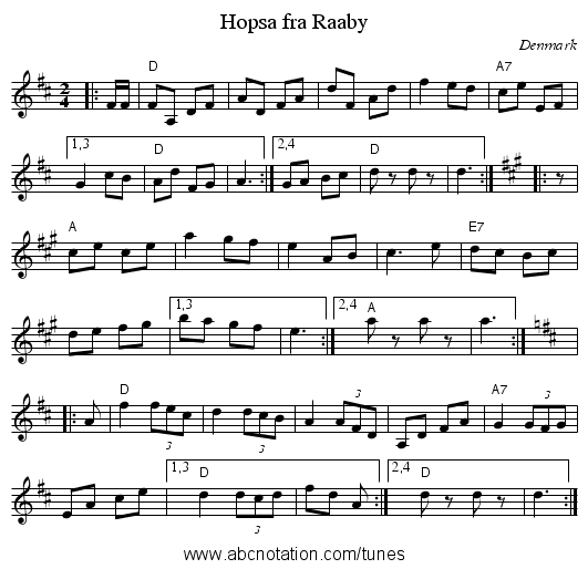 Hopsa fra Raaby - staff notation