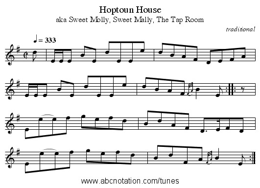 Hoptoun House - staff notation