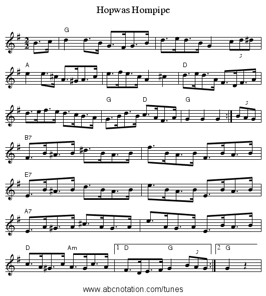 Hopwas Hornpipe - staff notation