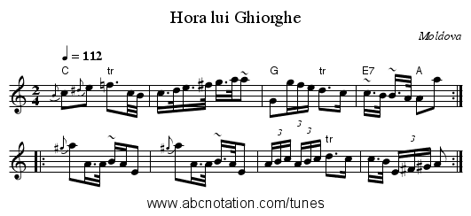 Hora lui Ghiorghe - staff notation