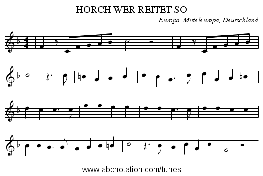 HORCH WER REITET SO - staff notation
