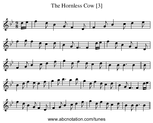 Hornless Cow [3], The - staff notation