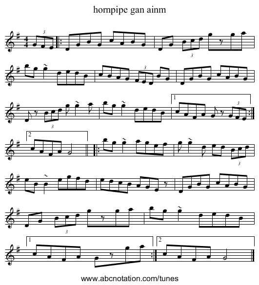 hornpipe gan ainm - staff notation