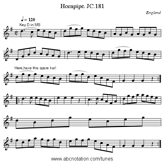 Hornpipe. JC.181 - staff notation