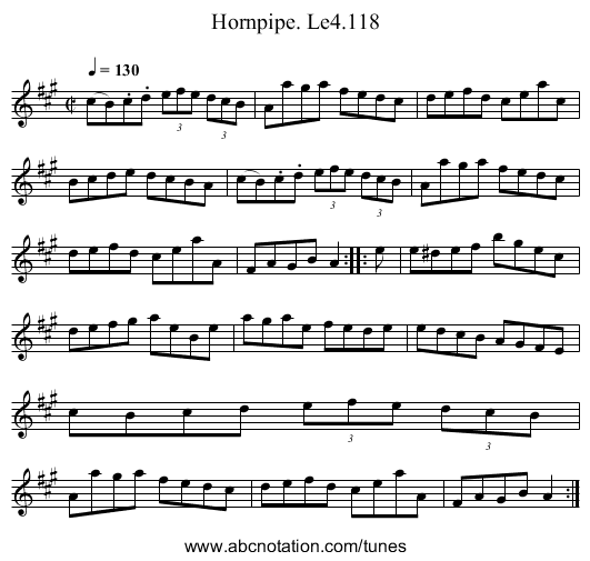 Hornpipe. Le4.118 - staff notation