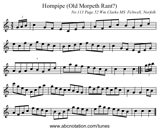 Hornpipe (Old Morpeth Rant?) - staff notation