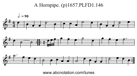 Hornpipe. (p)1657.PLFD1.146, A - staff notation