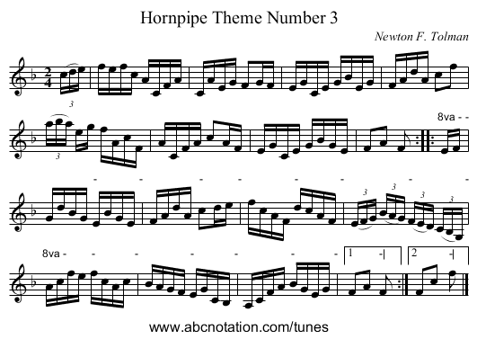 Hornpipe Theme Number 3 - staff notation