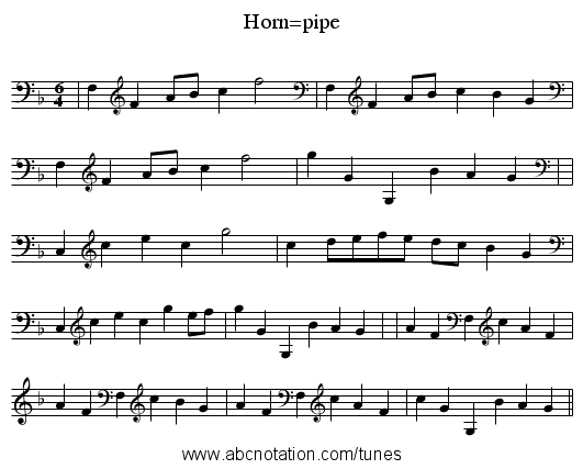 Horn=pipe - staff notation