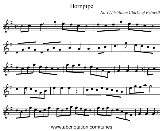 Hornpipe - staff notation