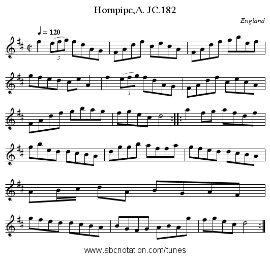 Hornpipe,A. JC.182 - staff notation