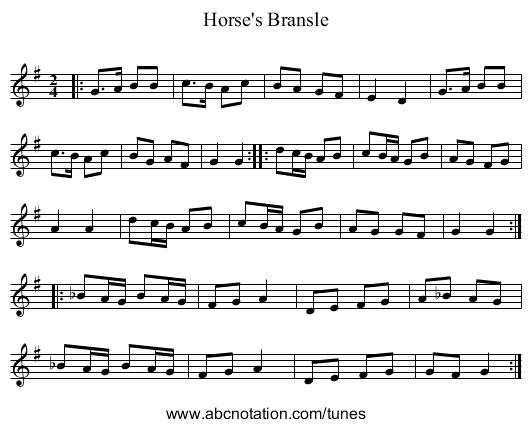 Horse's Bransle - staff notation