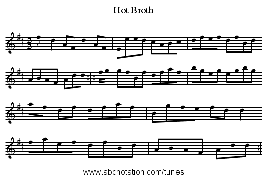 Hot Broth - staff notation