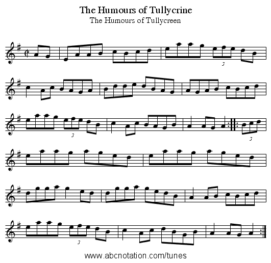 Humours of Tullycrine, The - staff notation