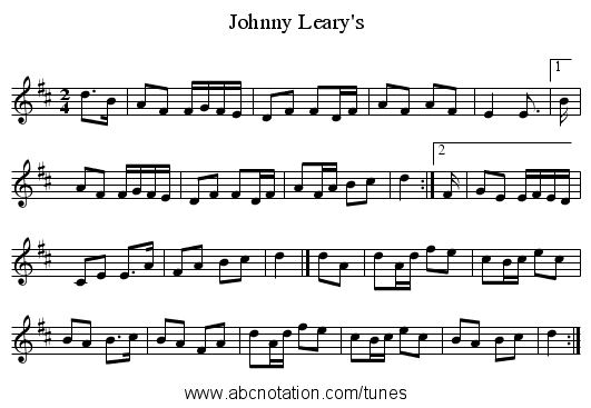 Johnny Leary's - staff notation