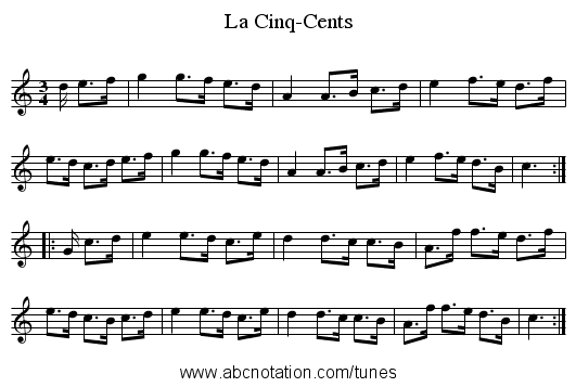 La Cinq-Cents - staff notation