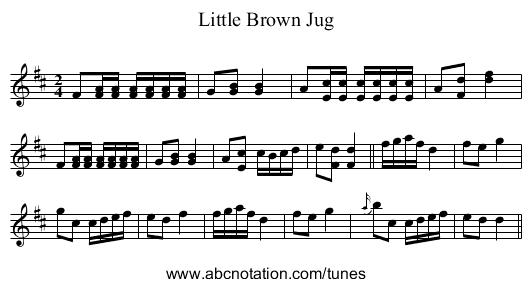Little Brown Jug - staff notation