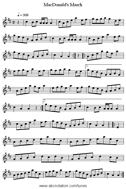 MacDonald's March - staff notation
