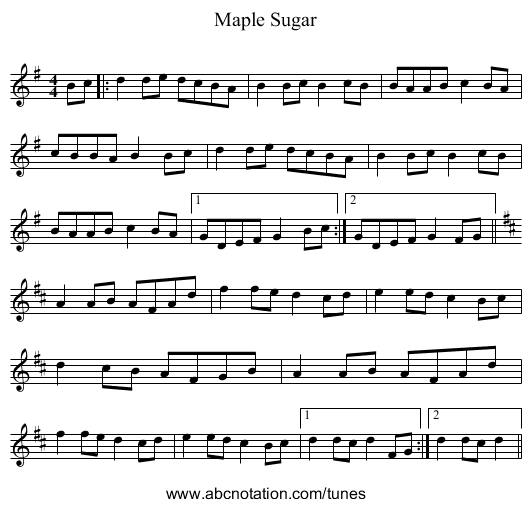 Maple Sugar - staff notation