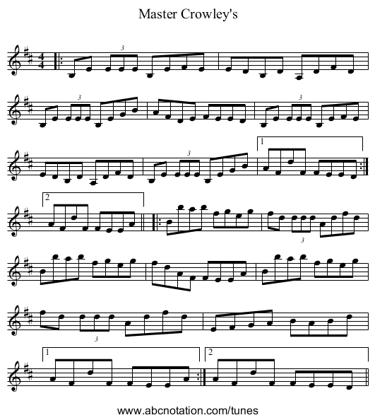Master Crowley's - staff notation