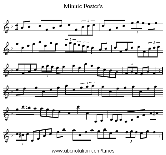 Minnie Foster's - staff notation