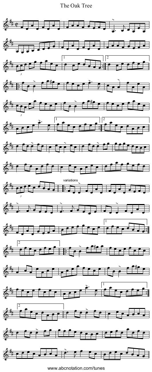 Oak Tree, The - staff notation