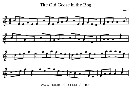Old Geese in the Bog, The - staff notation