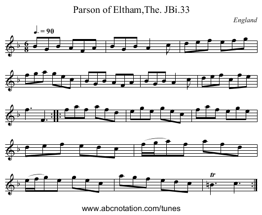 Parson of Eltham,The. JBi.33 - staff notation