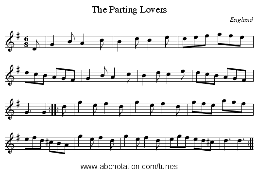 Parting Lovers, The - staff notation