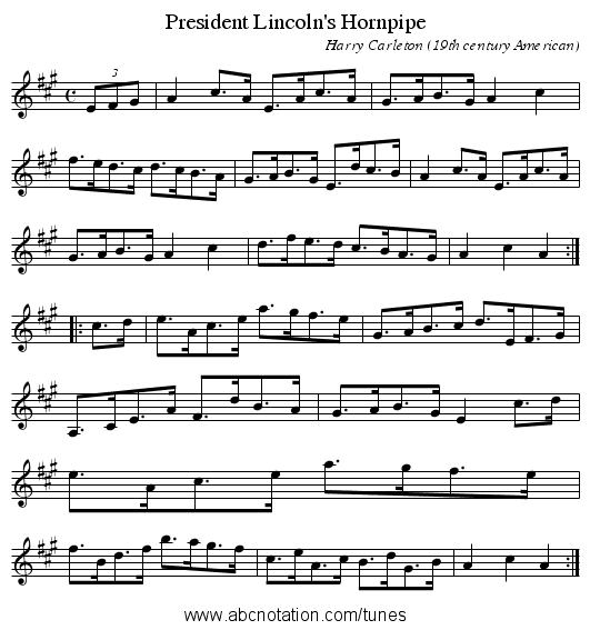 President Lincoln's Hornpipe - staff notation