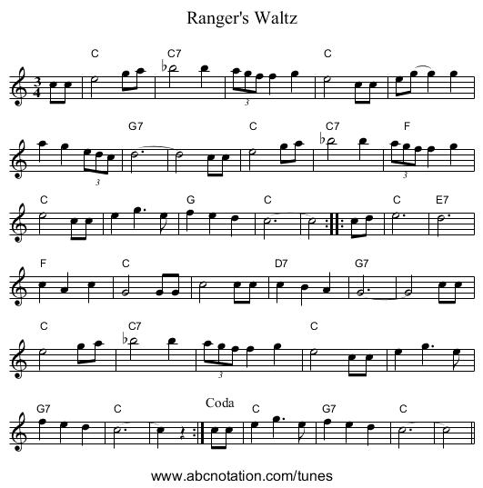 Piano Sheet Music Midi: Ranger's Waltz - Www.accordionlinks.com/other
